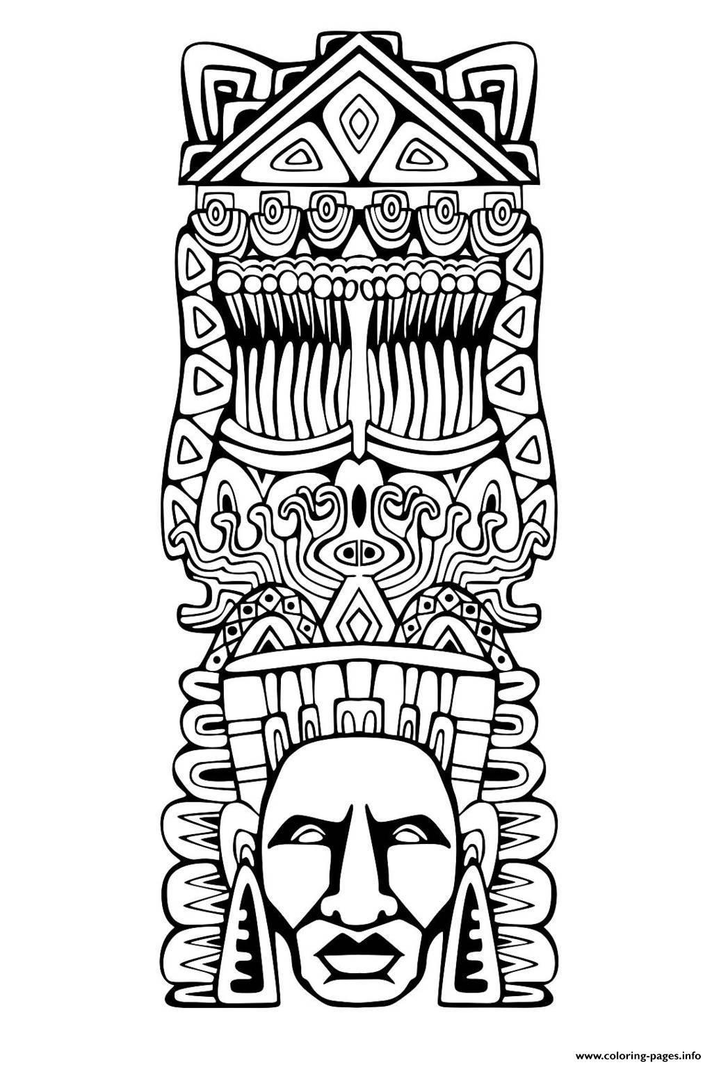Adult Totem Inspiration Inca Mayan Aztec 1 Coloring Pages Printable