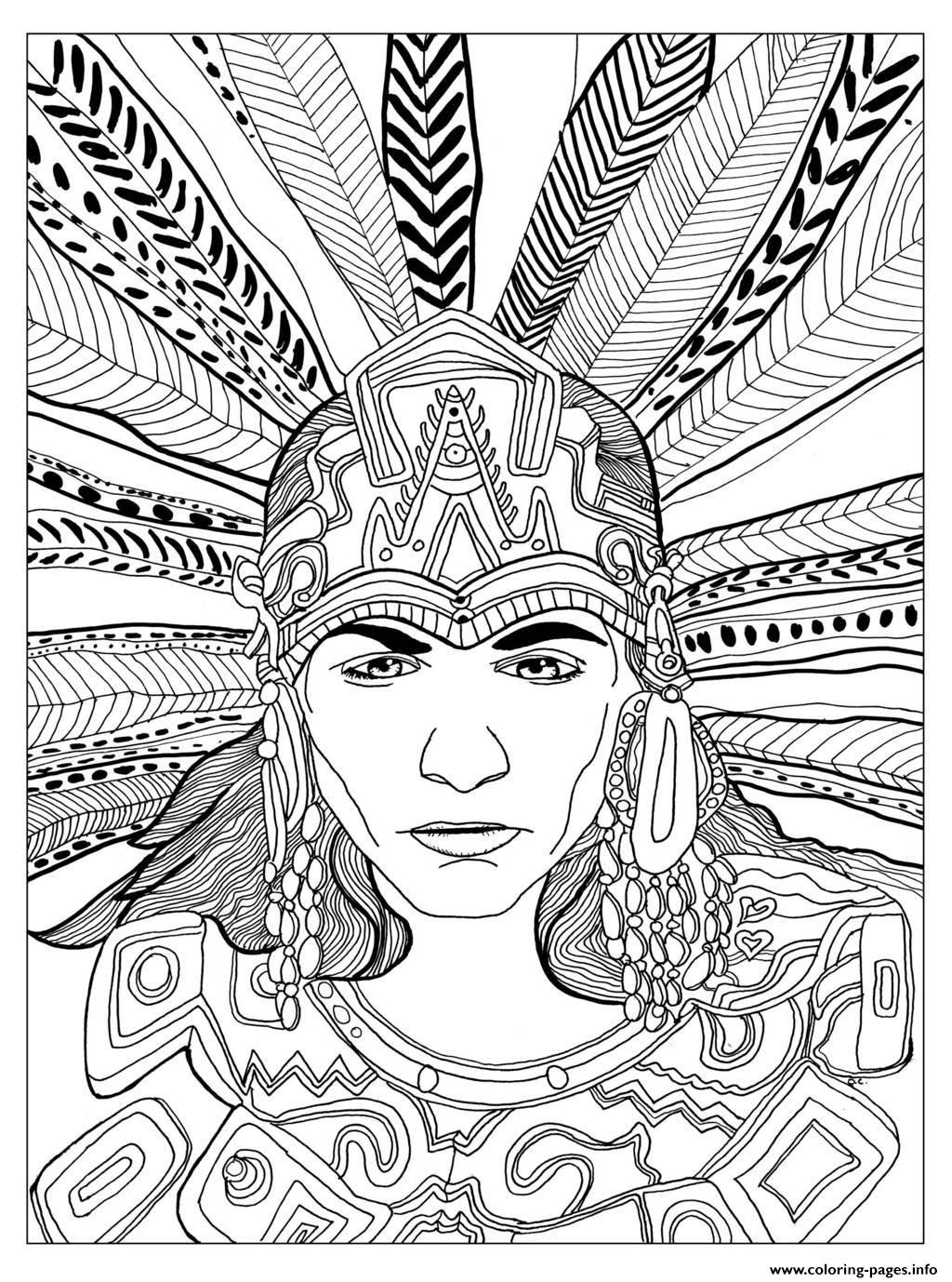 Adult Chief Mayan By Olivier coloring pages