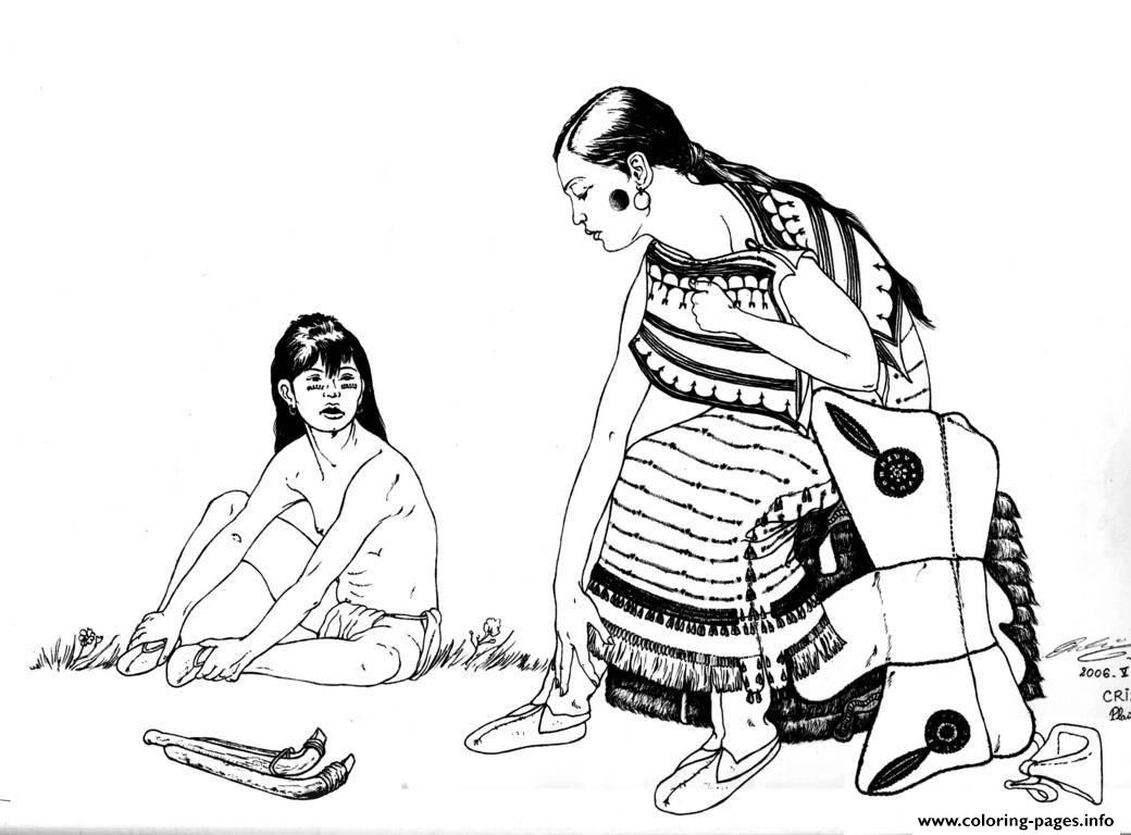Adult Native Indian And Child coloring pages