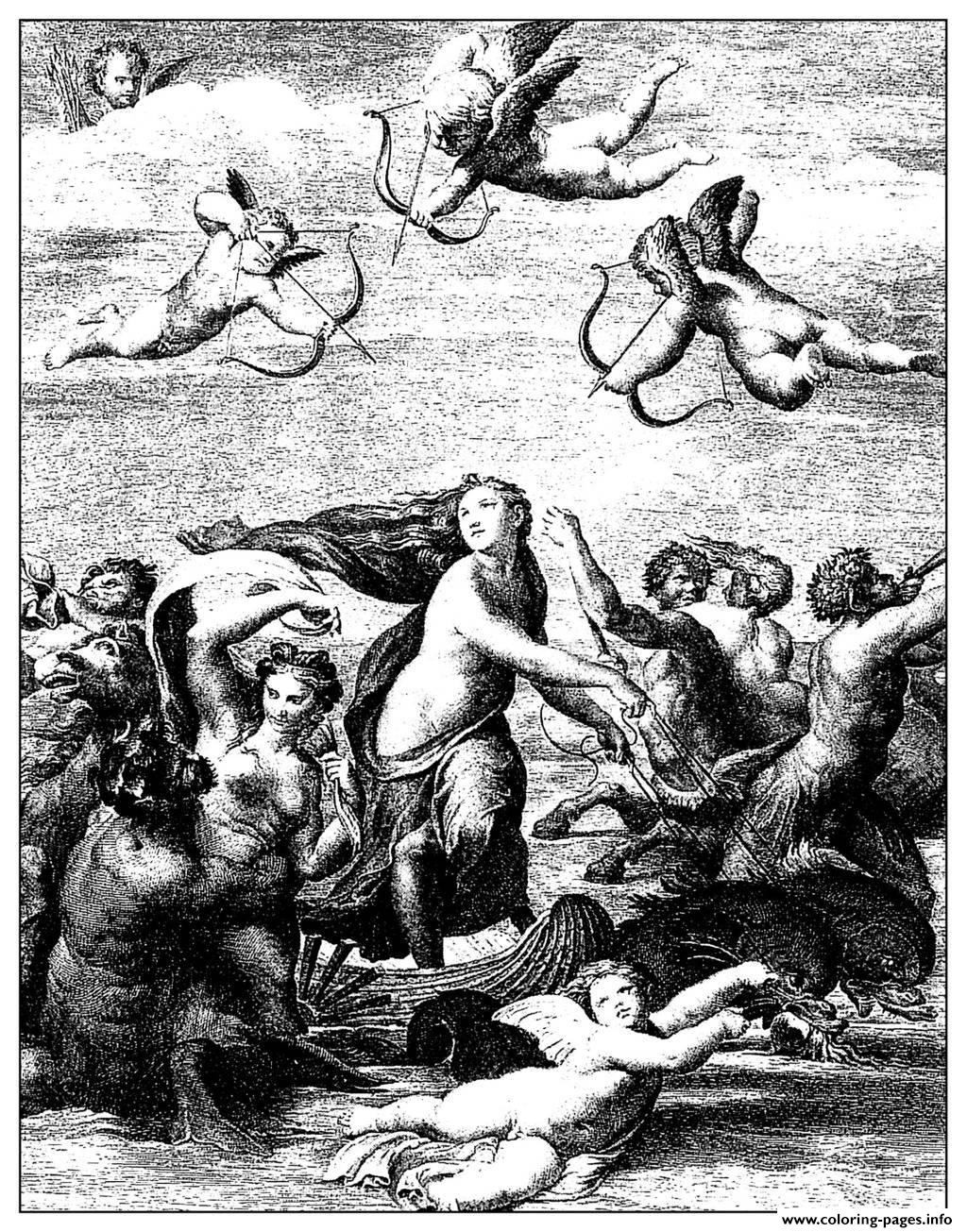 Adult Engraving Domenico Cunego Galatee Raphael 1771 coloring pages