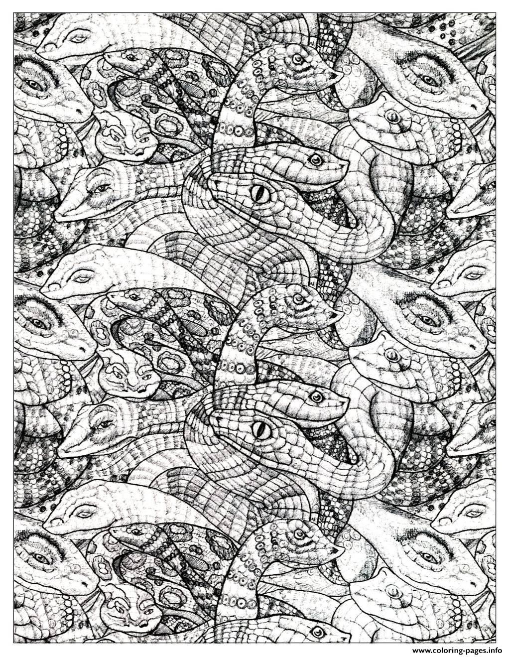 Free coloring pages snakes - Adult Snakes 2 Coloring Pages
