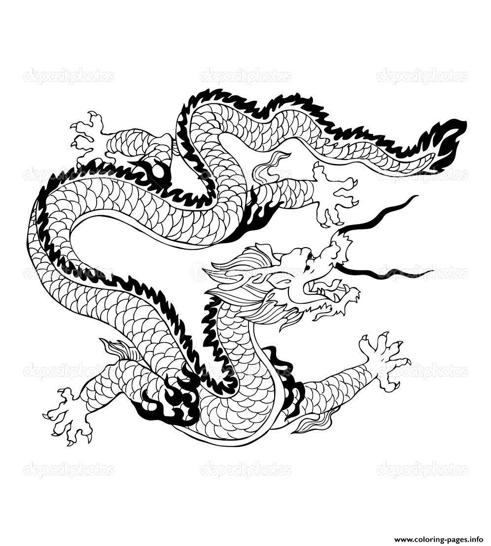 Adult Dragon Chinois coloring pages