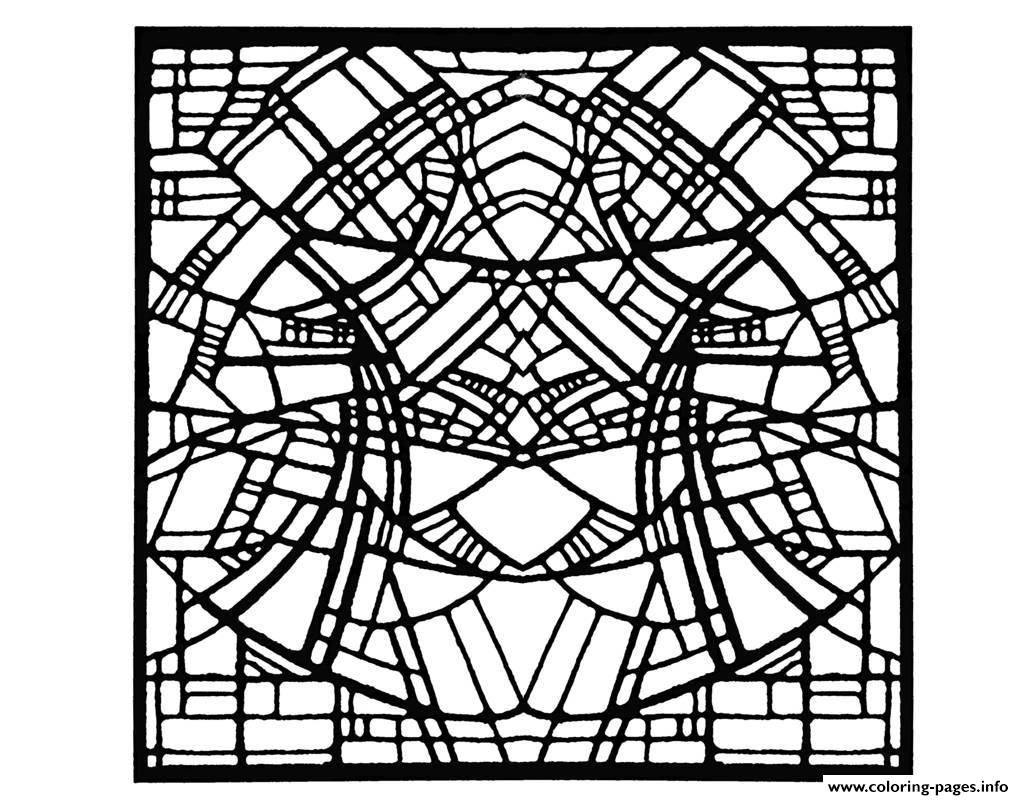 Adult Stained Glass Belgique Exposition Rene Mels 1986 Version Square coloring pages