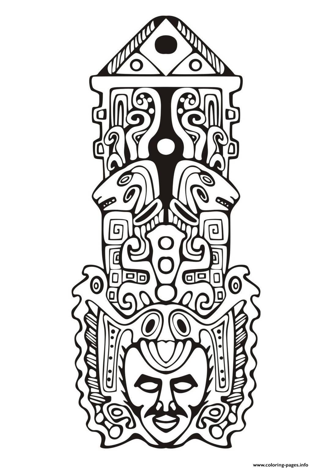 Adult Totem Inspiration Inca Mayan Aztec 7 Coloring Pages