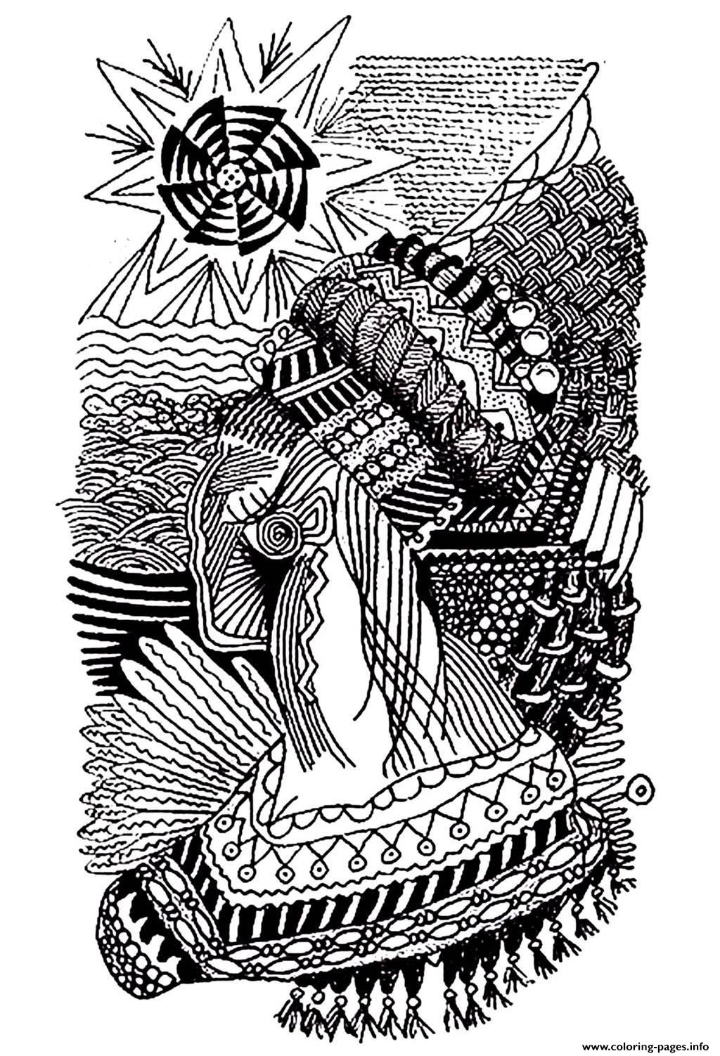 Adult Africa Drawing coloring pages