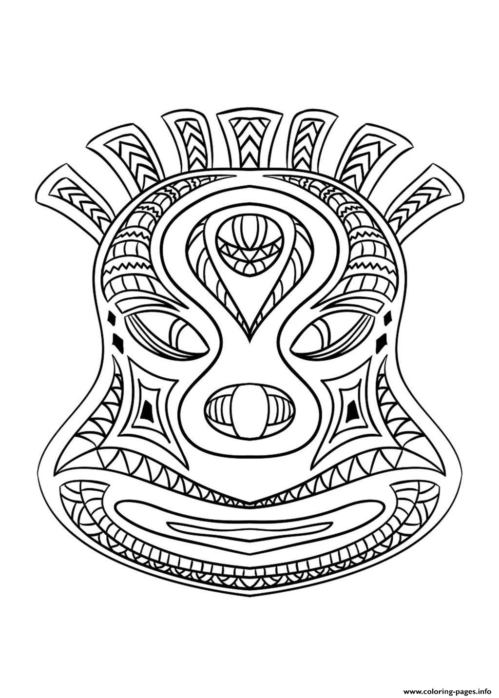 Adult African Mask 2 coloring pages