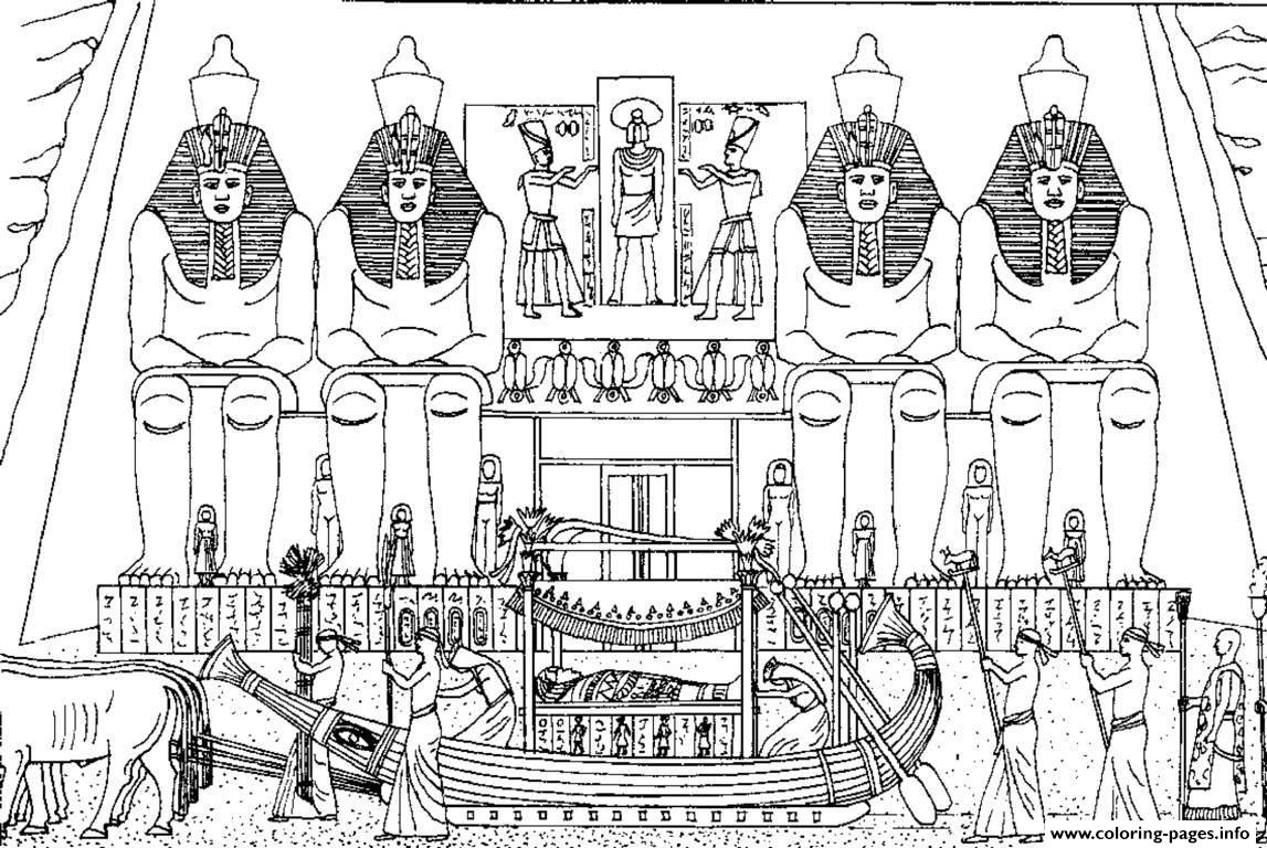 Adult Egypt Funeral Of A Pharaoh Coloring Pages Printable