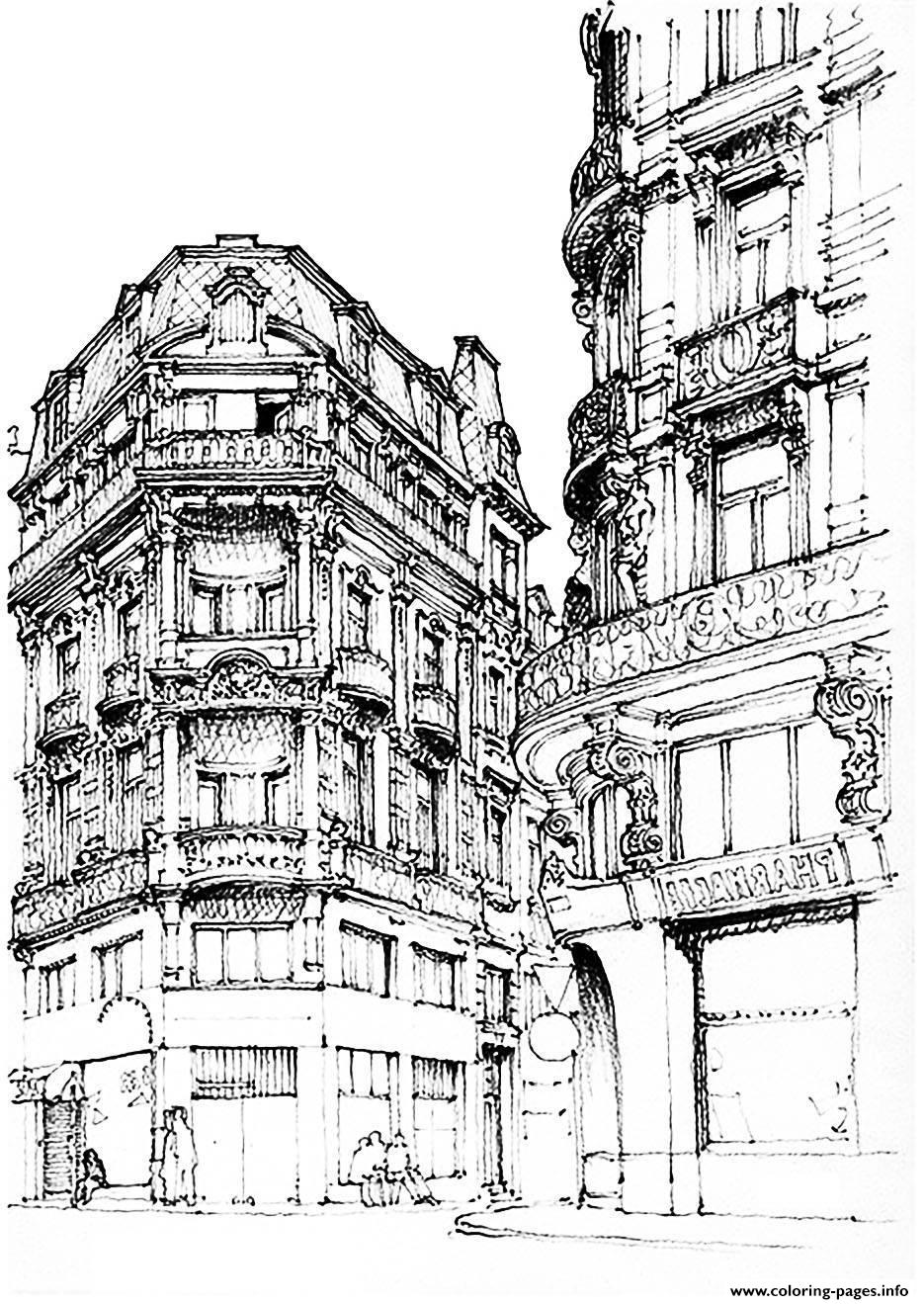 Adult Paris Street coloring pages
