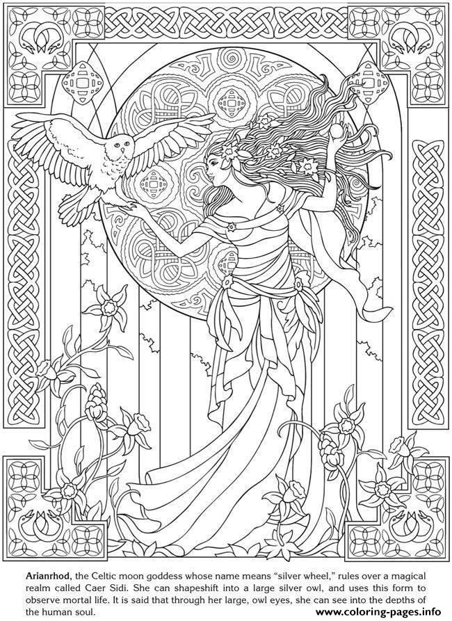 Adult Arianrhod Celtic Goddess Coloring Pages Printable