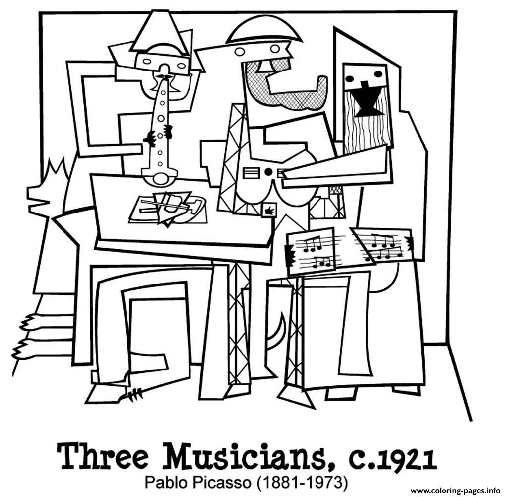 Adult Picasto Trois Musiciens coloring pages