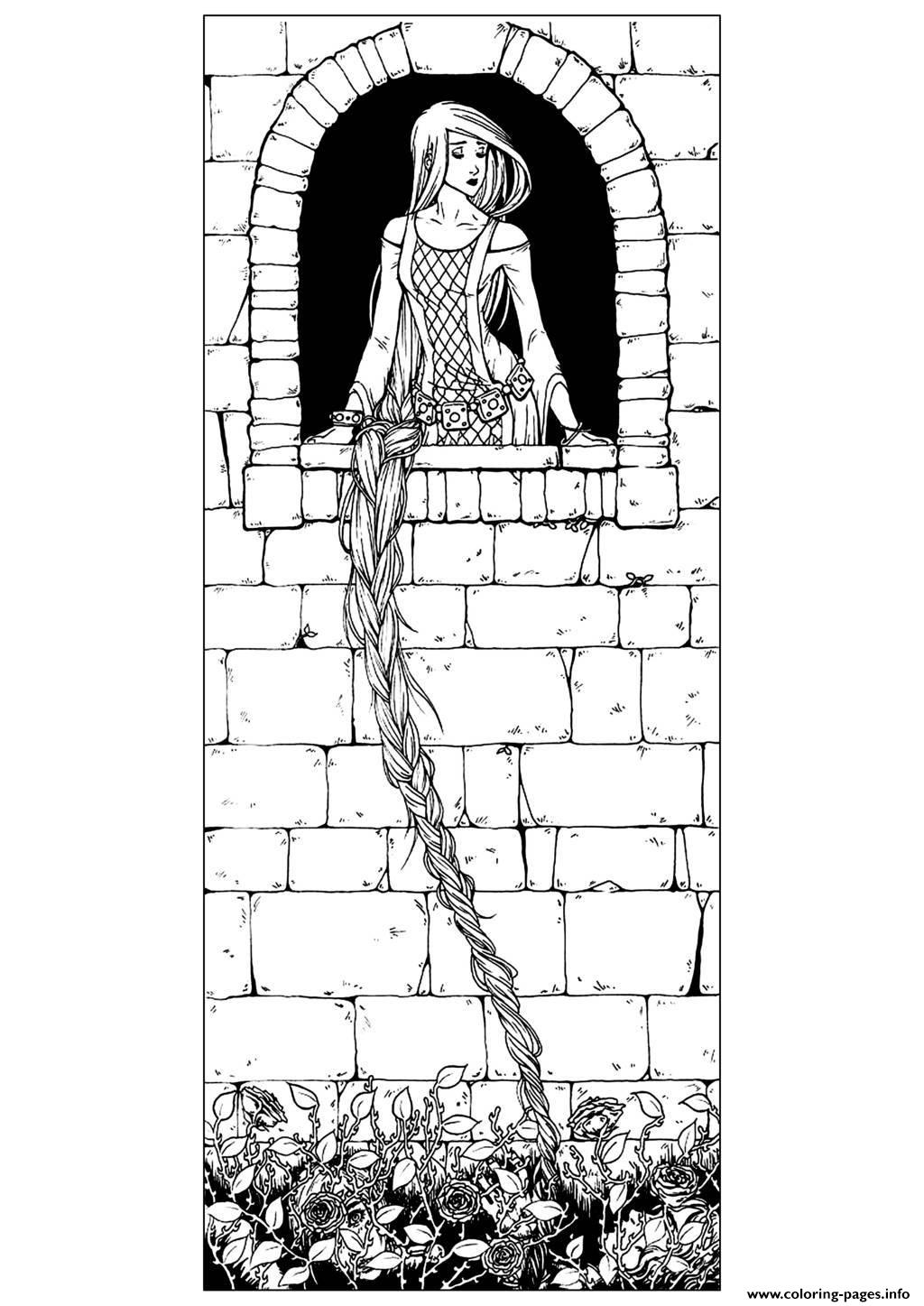 Adult Raiponce Traditional coloring pages