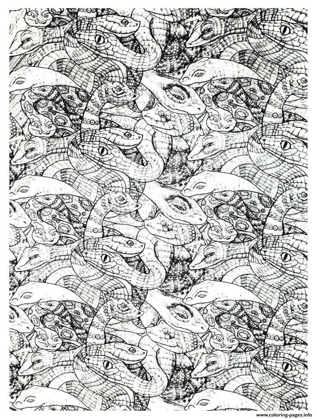adults snakes complex coloring pages printable - Complex Coloring Pages