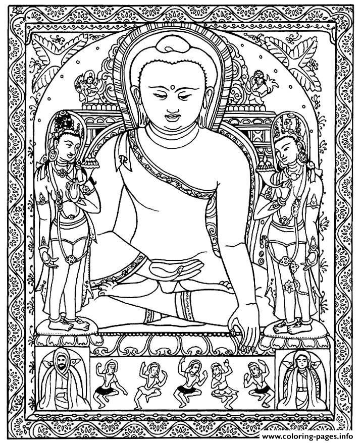 Adult Tibetain Bouddha coloring pages