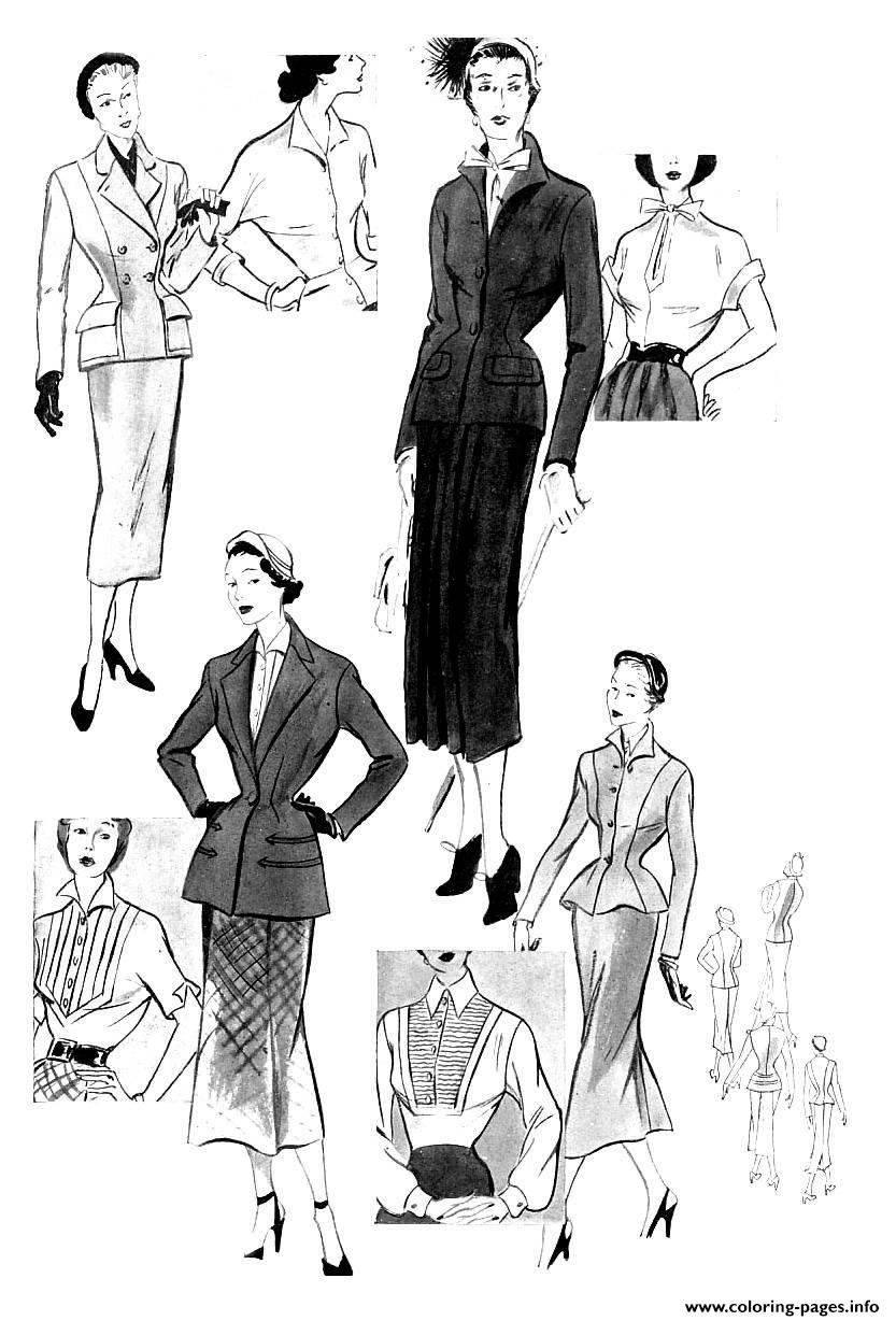 Adult Croquis Mode 1949 coloring pages