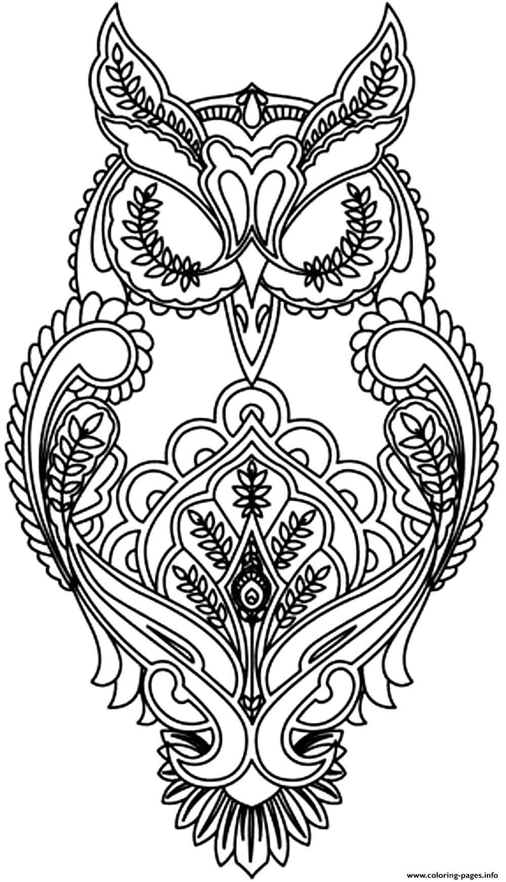 difficult owl coloring pages printable