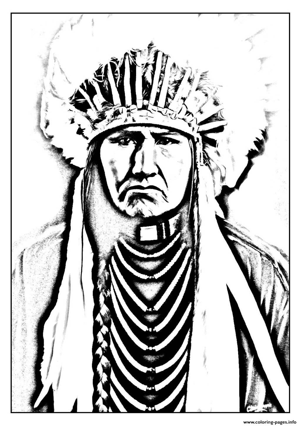 Adult Native American Indian Coloring Pages Printable