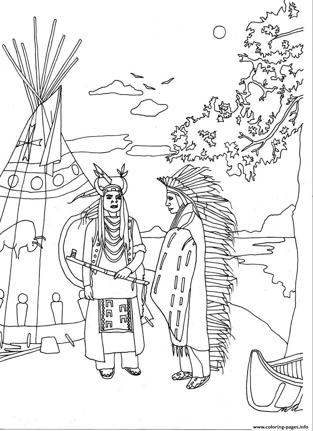 Adult Two Native Americans By Marion C Coloring Pages Printable