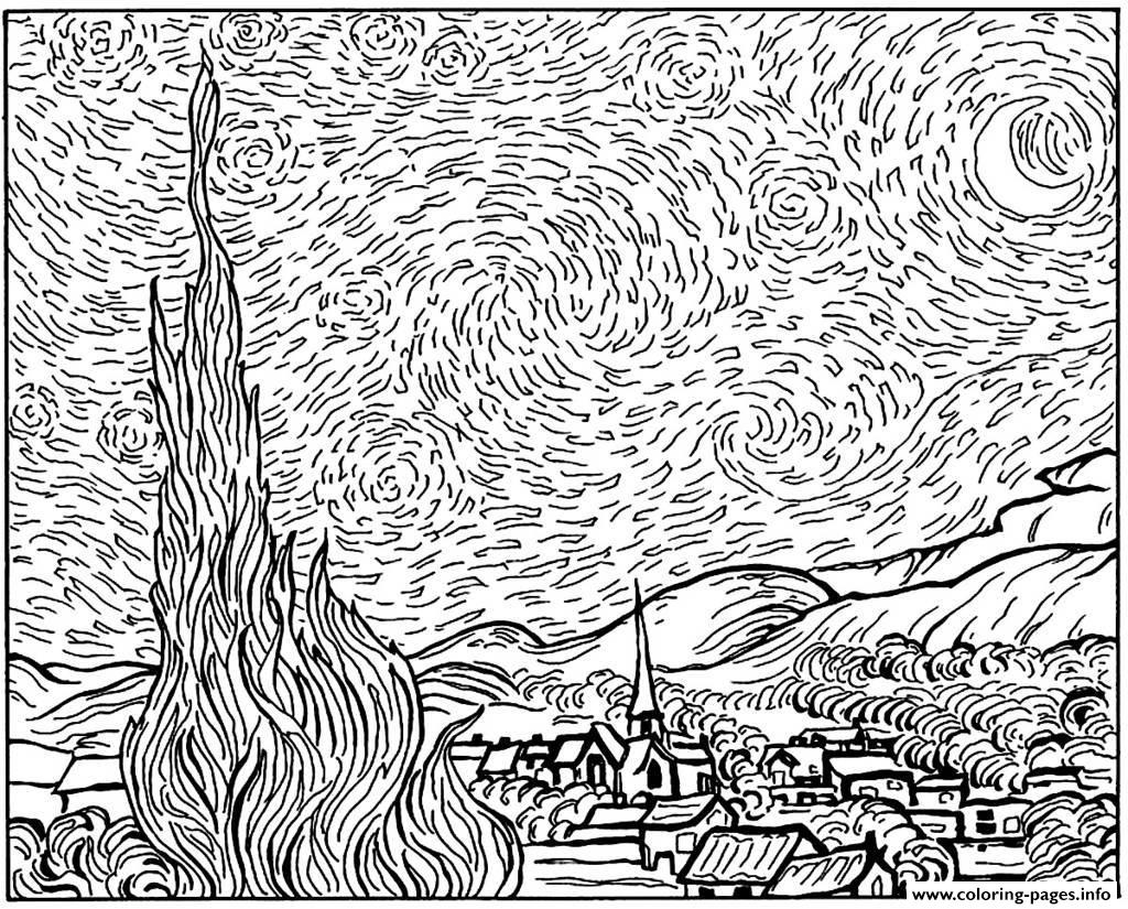 Van Gogh Coloring Pages Amazing Adult Van Gogh Starry Night Coloring Pages Printable