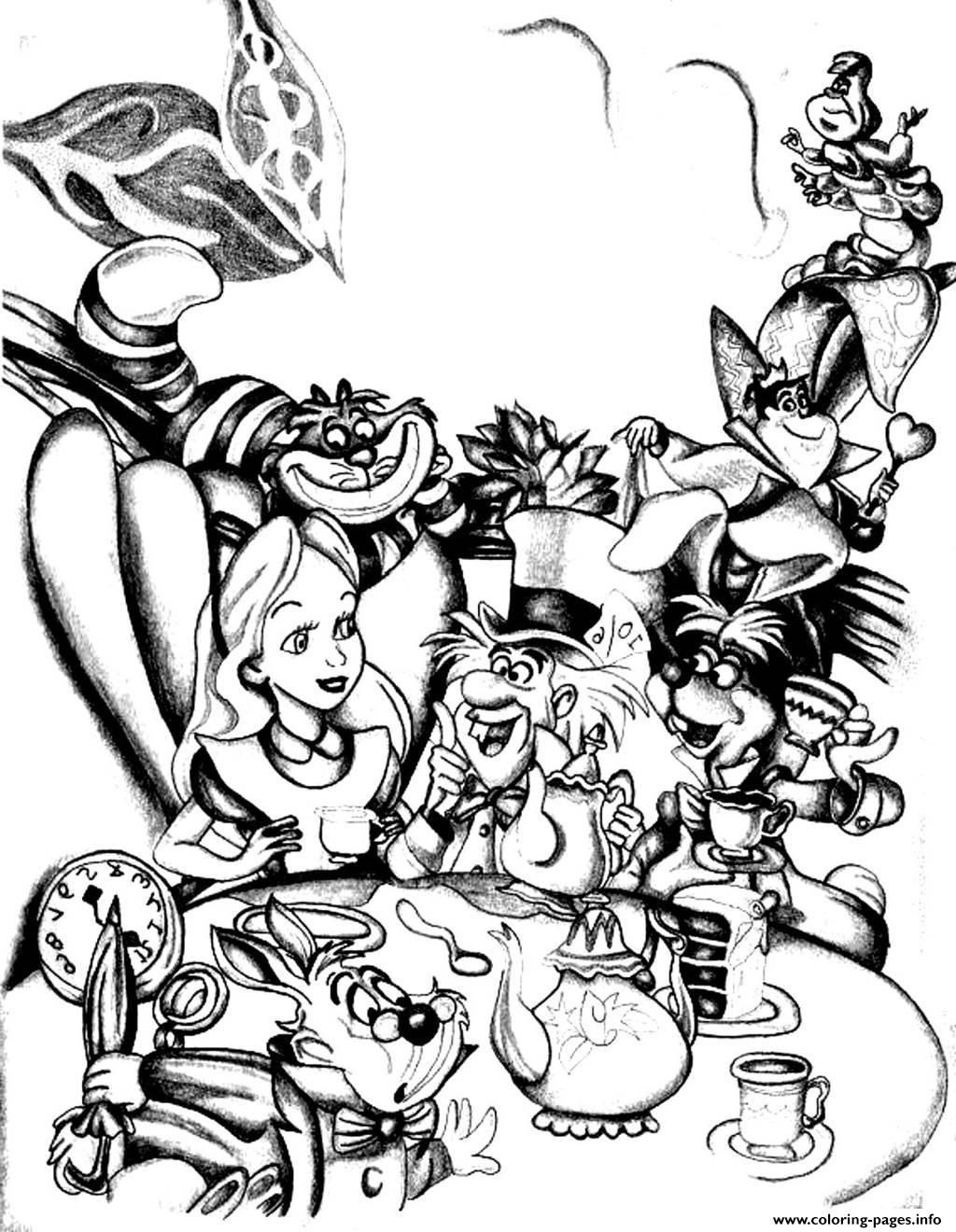 Adult Disney Drawing Alice In Wonderland Coloring Pages Printable