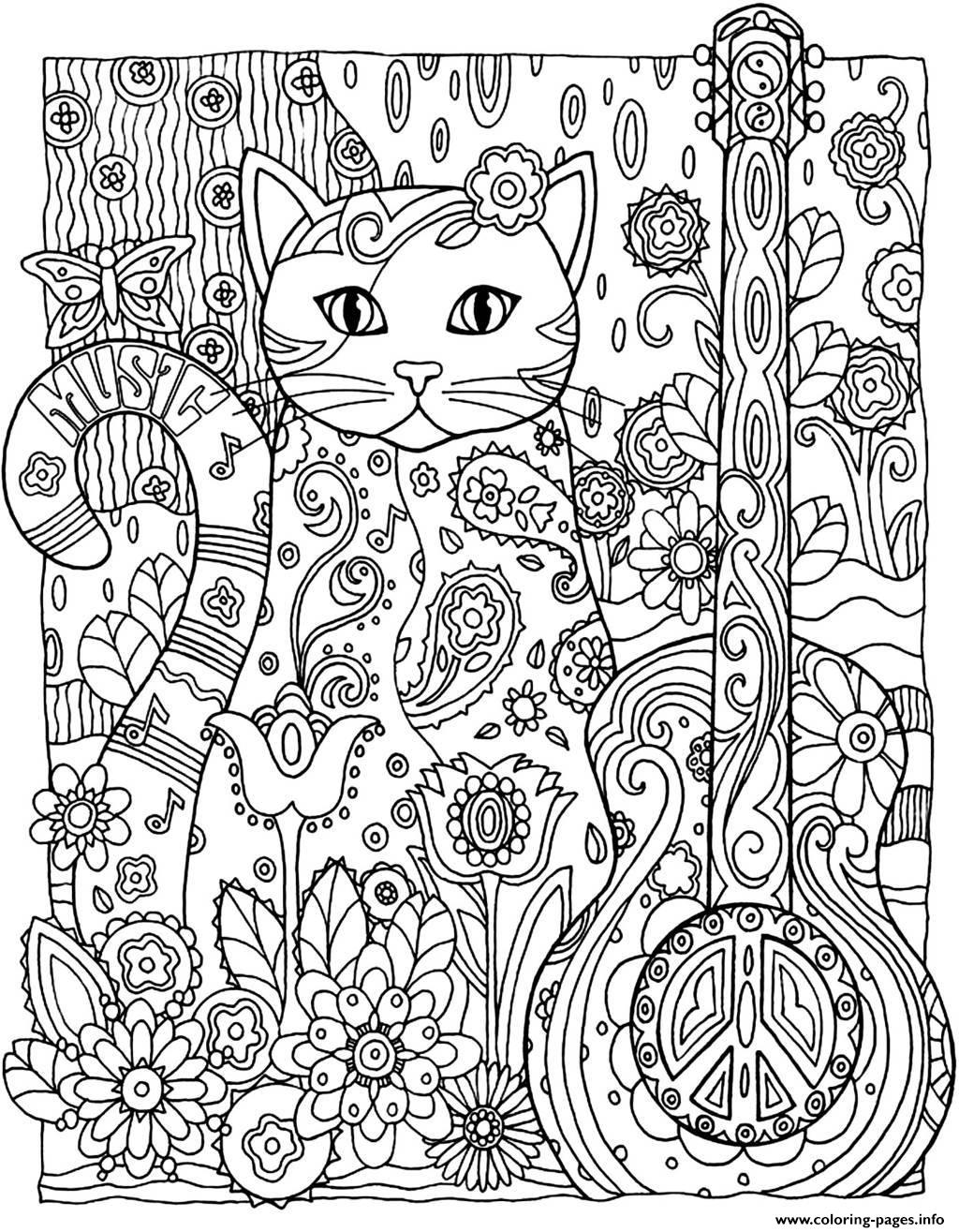 adult cat guitar Coloring pages Printable