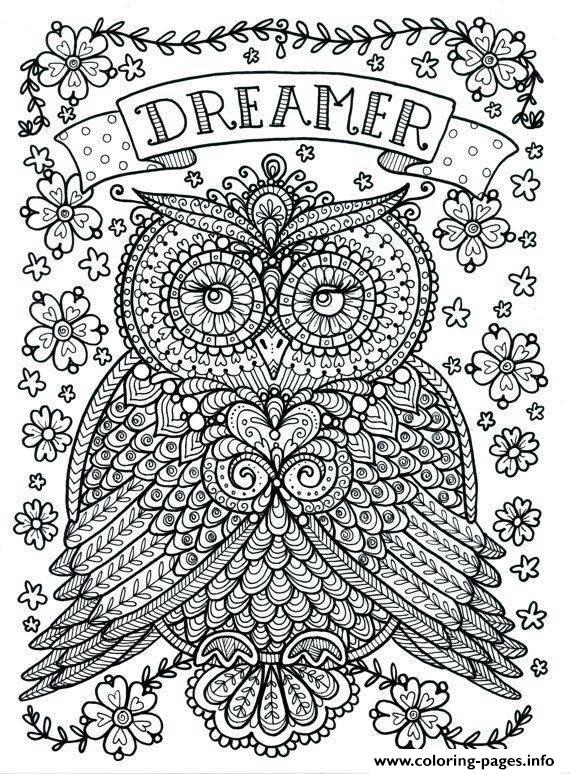 Adult Owl Dreamer Coloring Pages Printable