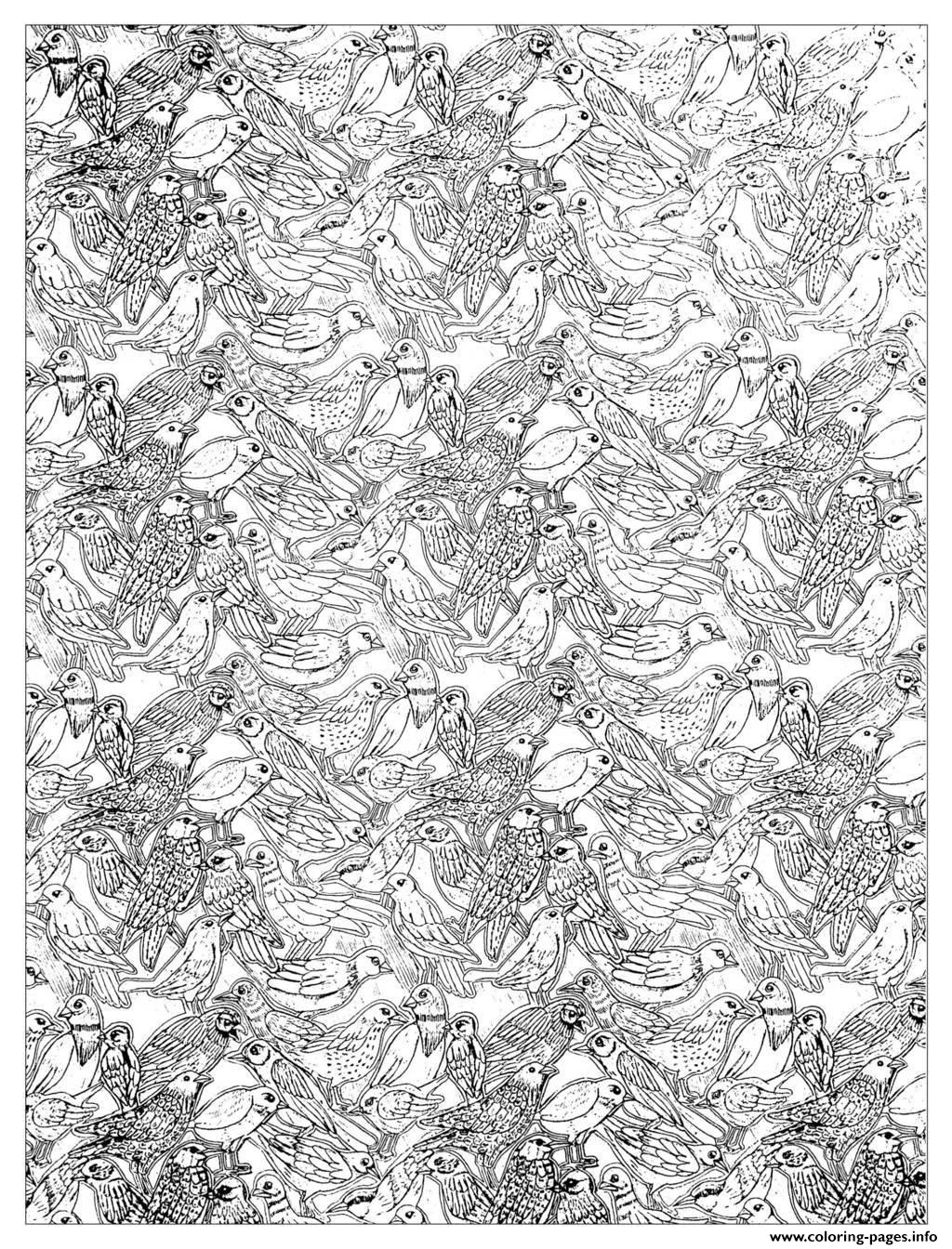 Adult Plenty Birds Complex Coloring Pages Print Download