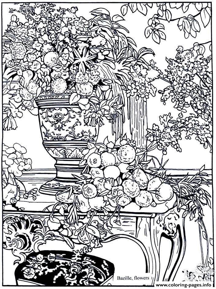 Adult Bazille Flowers coloring pages