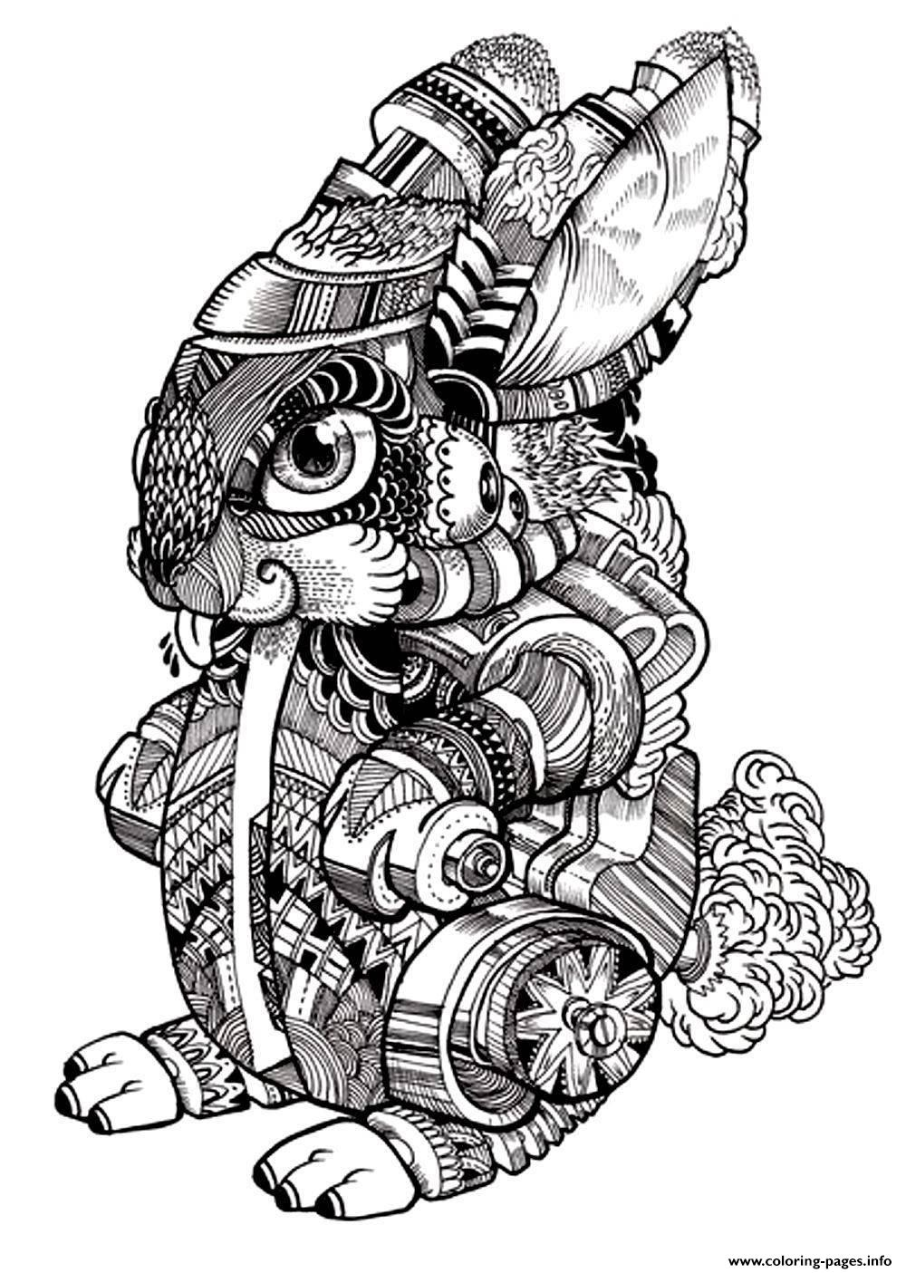 adult difficult rabbit 2 coloring pages