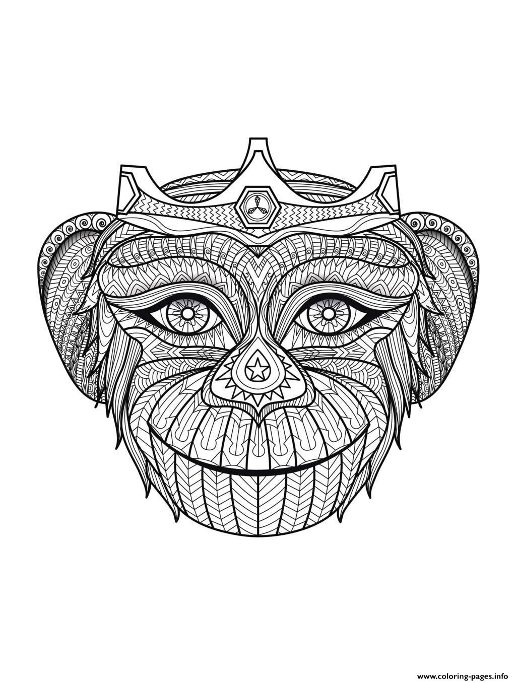 Adult Africa Monkey Head Coloring Pages Printable