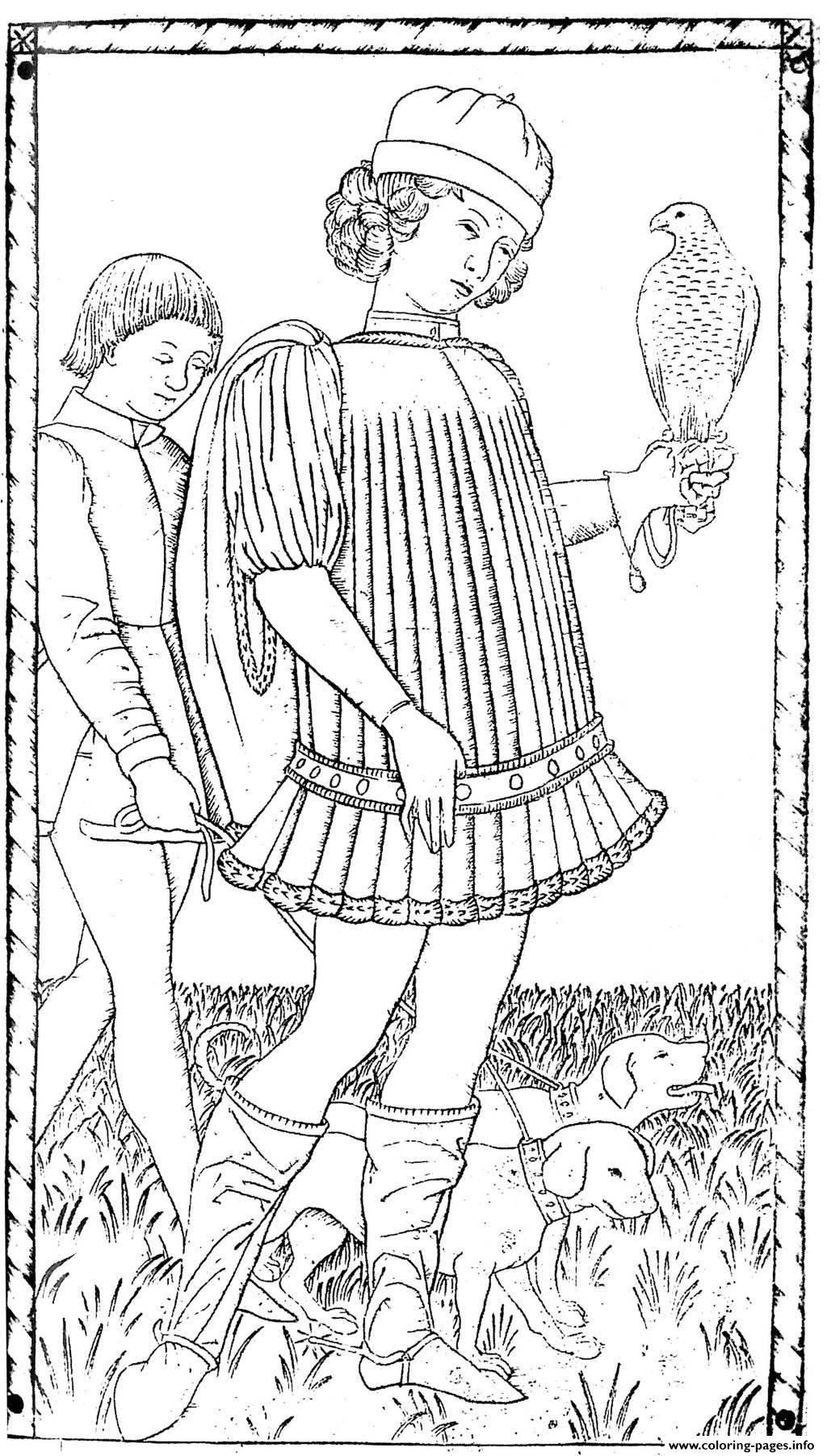 Adult Engraving Anonyme Gentilhomme Around 1465 coloring pages