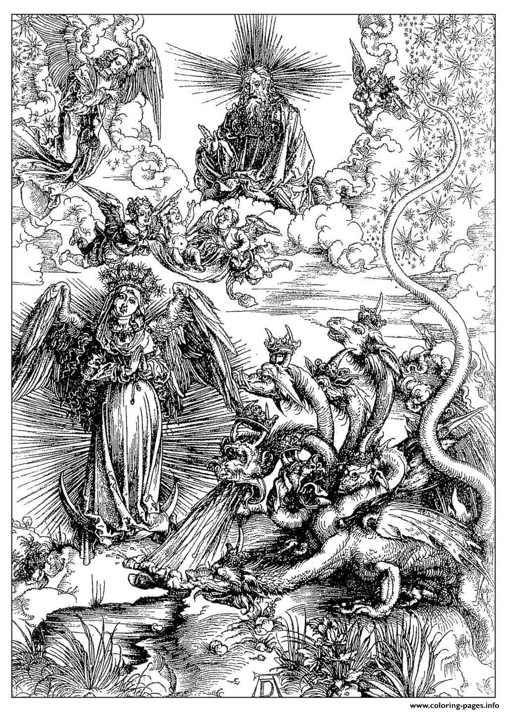 Adult Engraving Albrecht Durer The Woman Of Apocalyps Around 1497 coloring pages