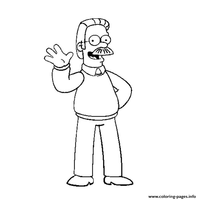 ned flanders simpson coloring pages printable - Printable Simpsons Coloring Pages