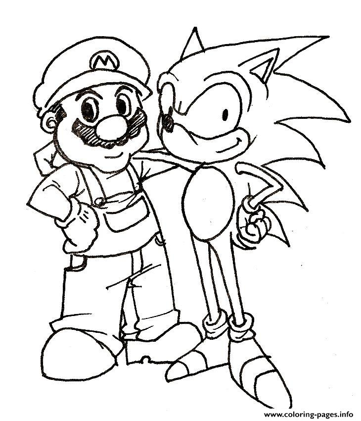 Mario And His Friend Sonic Coloring Pages