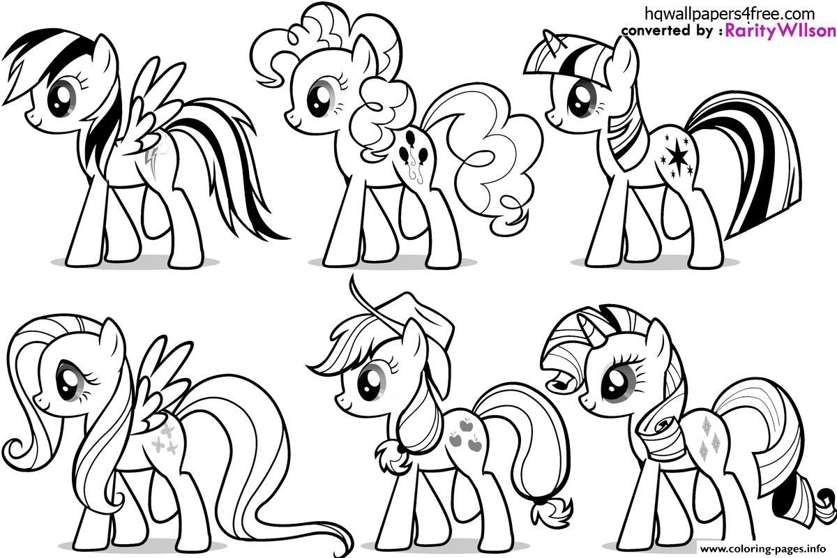 My Little Pony Fluttershy Rarity Pinkie Pie Rainbow Dash Coloring Pages Printable