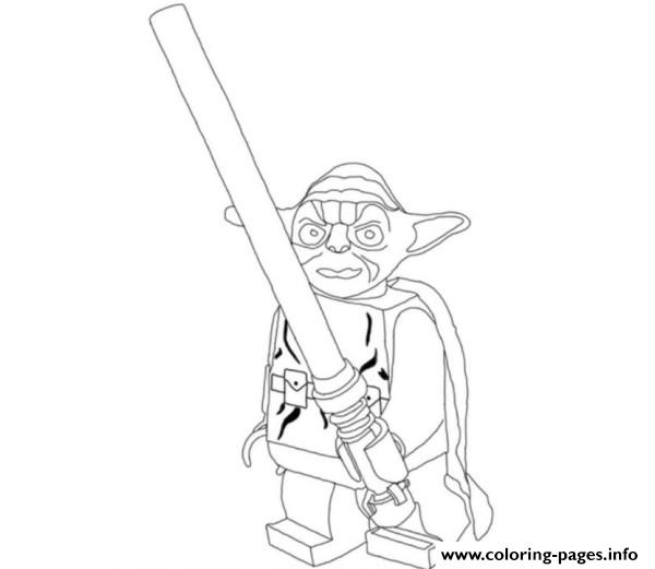 lego star wars yoda holding lightsabers coloring pages