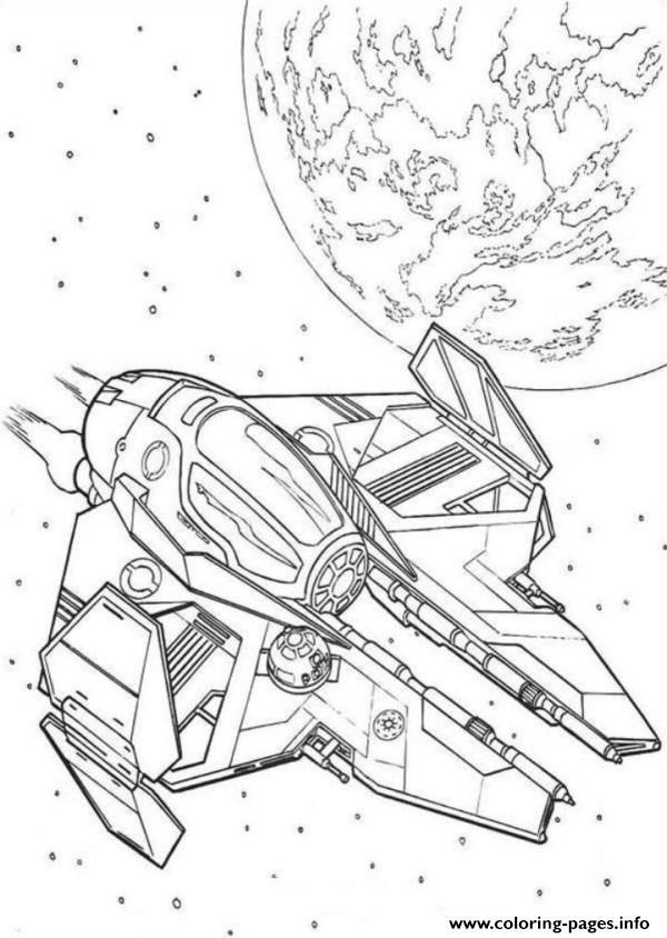 Obi Wan Kenobi Spaceship Star Wars Coloring Pages Printable