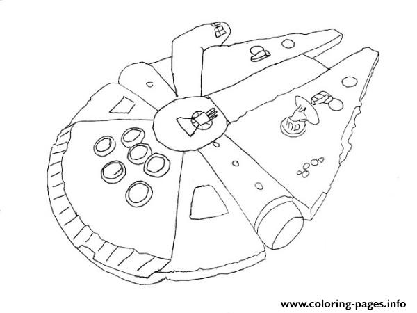 Simple Millenium Falcon Star Wars Ship Coloring Pages