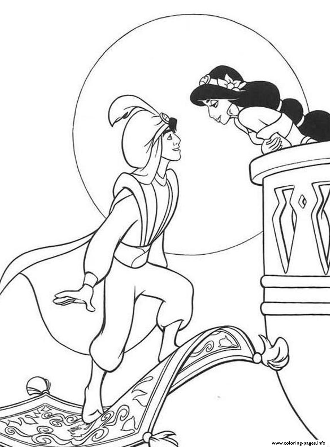 Aladdin Jasmine Disney2bf5 Coloring Pages Printable