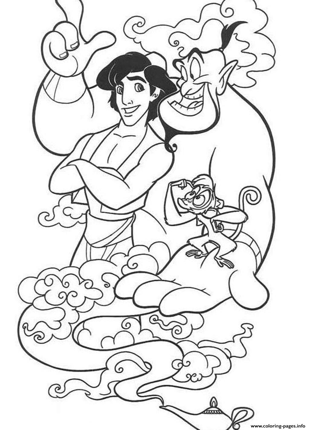 Abu Genie And Aladdin  Disney7665 coloring pages