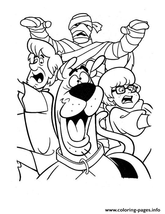 Mummy Chasing Them All Scooby Doo 0a80 Coloring Pages Printable