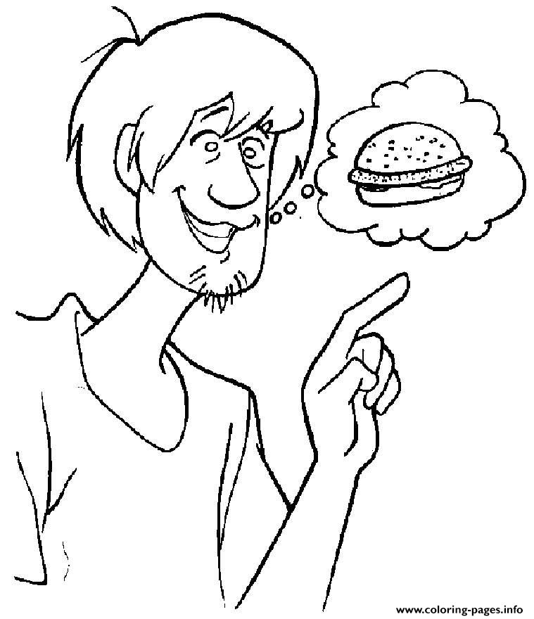Shaggy Wants Burger Scooby Doo 779e coloring pages