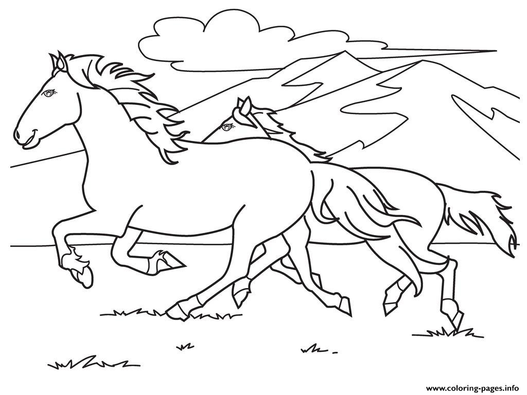 Running white horse s0e59 coloring pages printable for Coloring pages horses printable