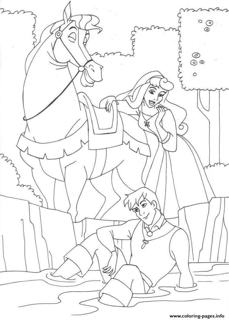 Aurora And The Prince Riding A Horse 4e96 coloring pages