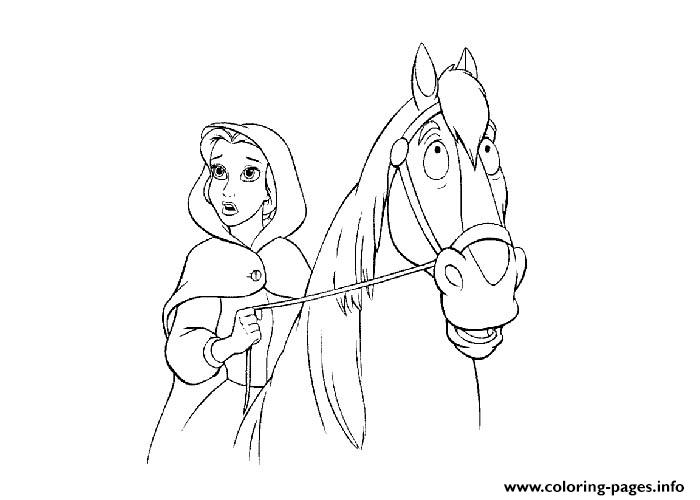Belle On Her Horse Disney Princess 51b9 Coloring Pages Printable