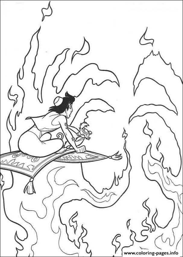 Aladdin Flying Through Fire Disney Coloring Pages8417 coloring pages