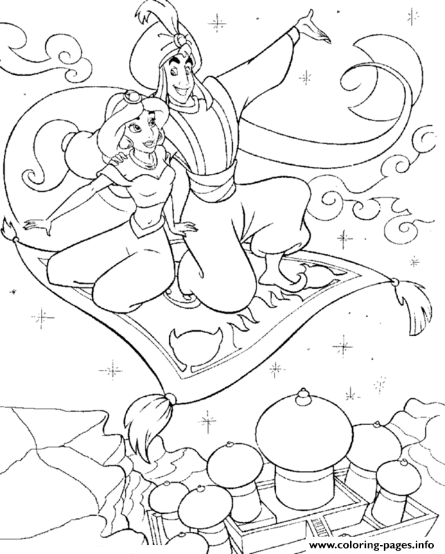 Aladdin Taking Jasmine On Flying Carpet Disney Princess Coloring ...