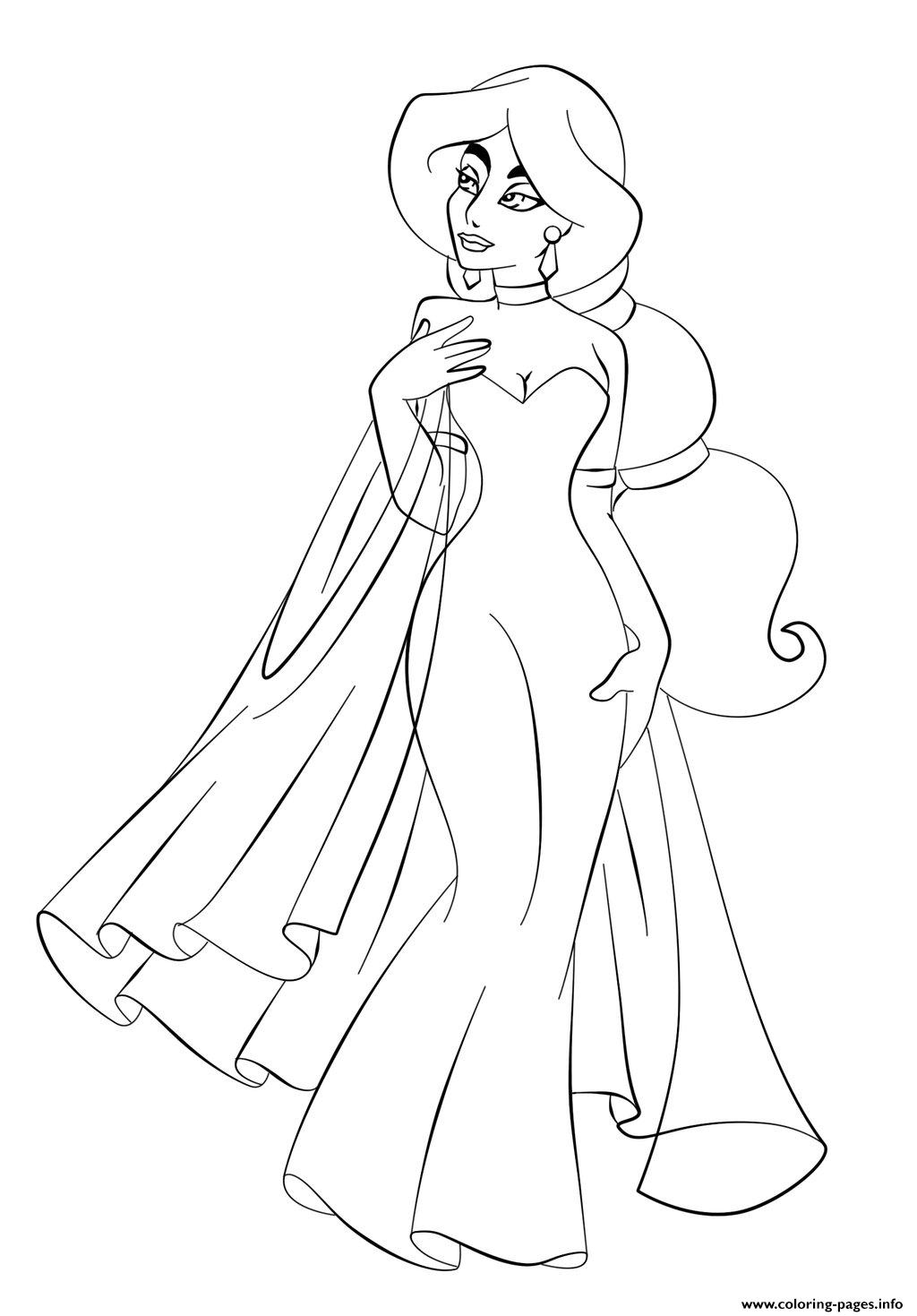 Jasmine in wedding dress disney princess s6993 coloring for Jasmine the princess coloring pages