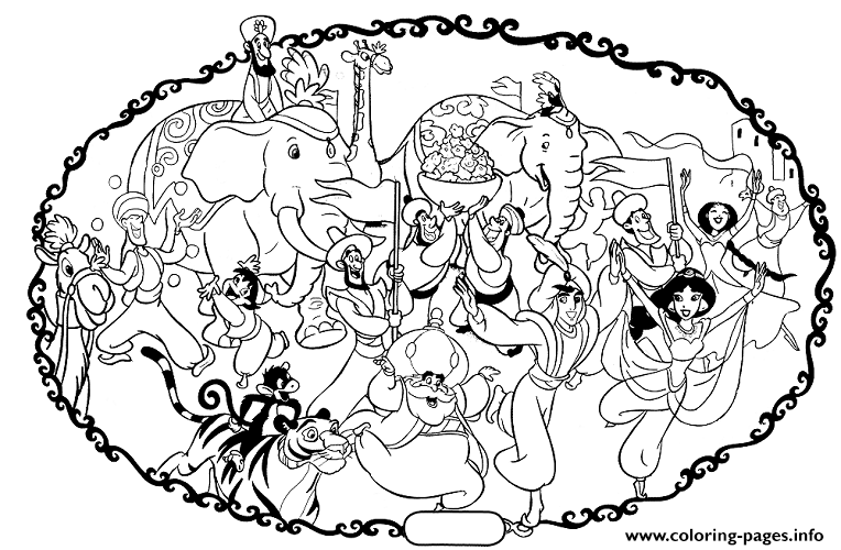 Aladdins Wedding With Elephants Disney Coloring Pages3b48 Coloring