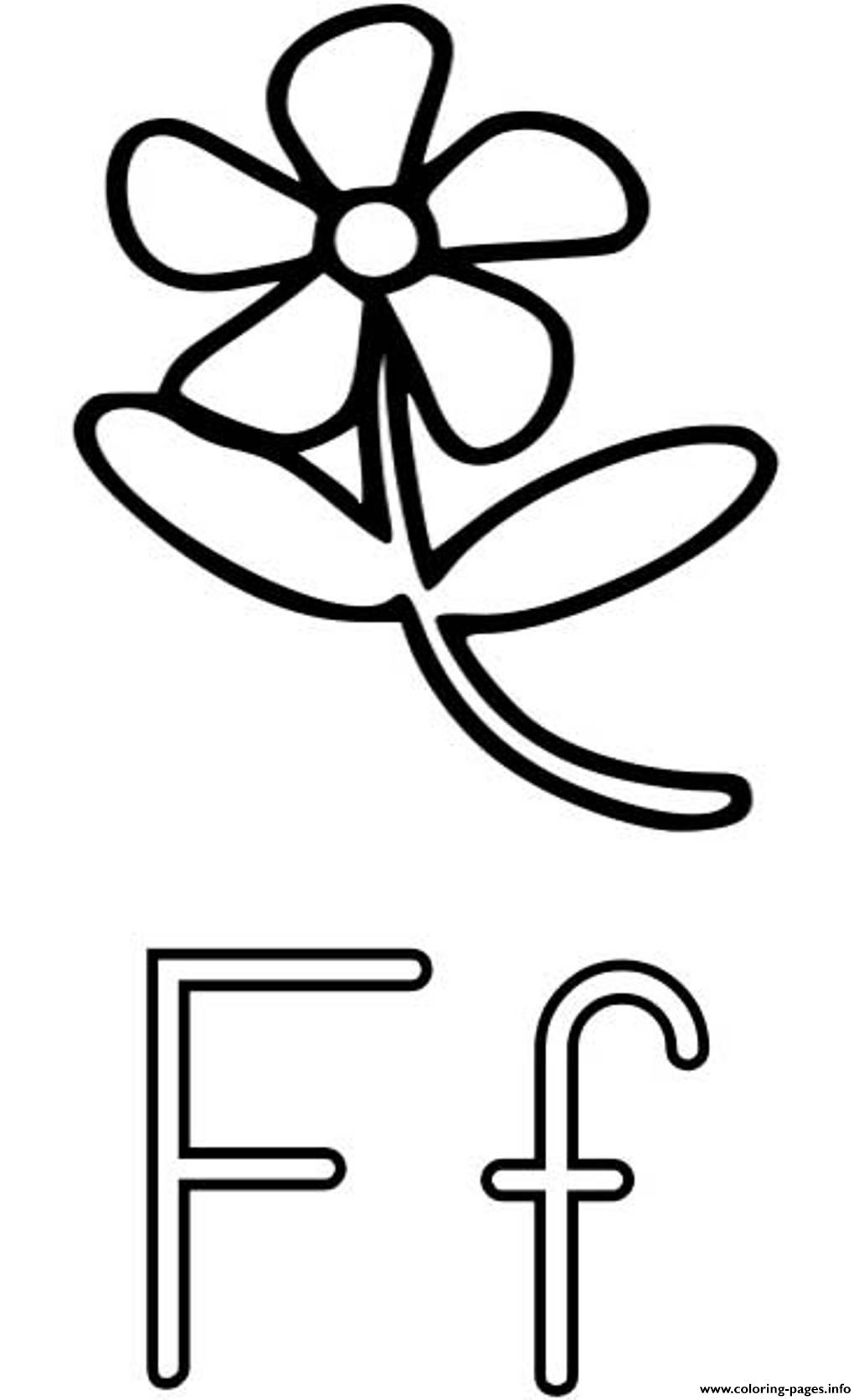 Flower F Free Alphabet S6a23 Coloring