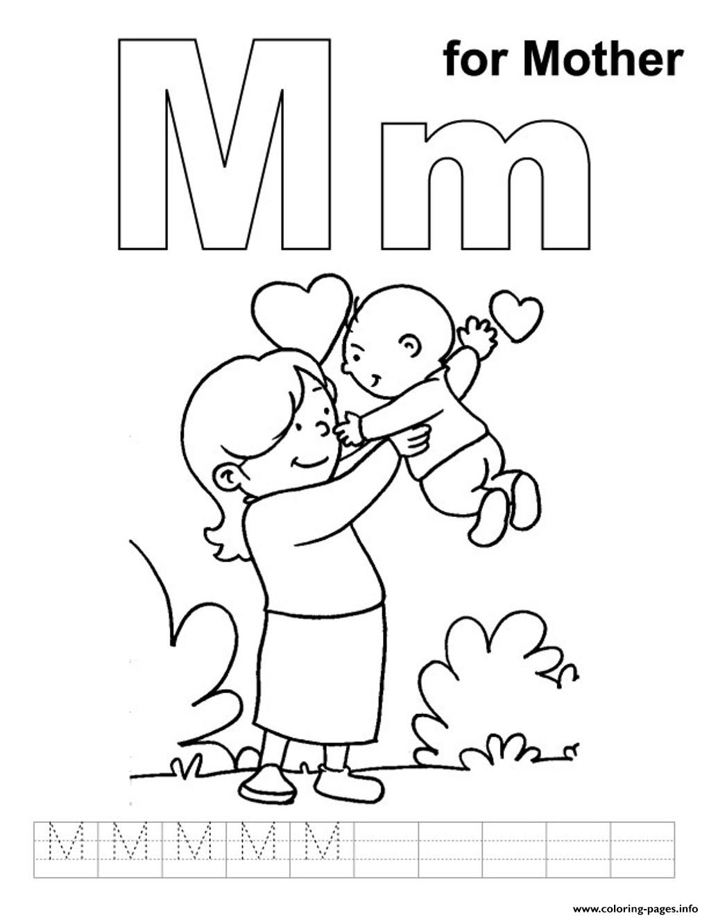 Lovely mother free alphabet sc83b coloring pages printable for Coloring pages of mom
